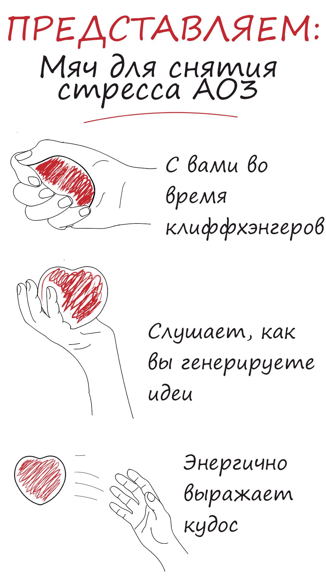 Иллюстрация, демонстрирующая возможное применение мячика для снятия стресса, гласящая: