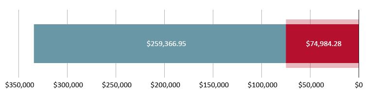 تم صرف 74,984.28 دولار أمريكي؛ تبقّى 259,366.95 دولار أمريكي