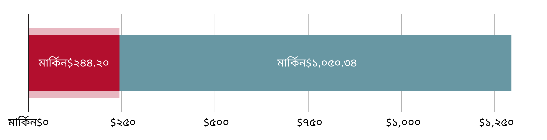 মার্কিন$২৪৪.২০ খরচ হয়েছে; মার্কিন$১,০৫০.৩৪ হাতে রয়েছে