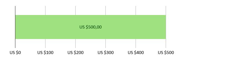 US$ 0 uitgegeven; US$ 500,00 resterend