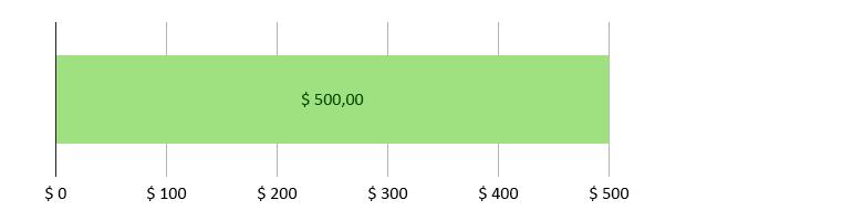 $ 0 bruk; $ 500,00 gjenstår