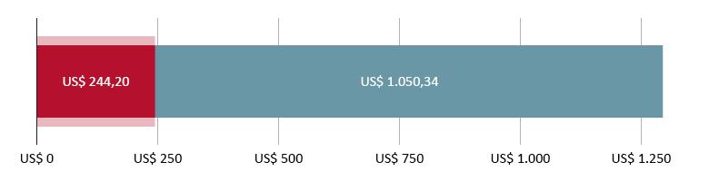 US$ 244,20 gastos; mais US$ 1.050,34 previstos