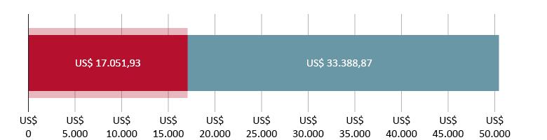US$ 17.051,93 gastos; mais US$ 33.388,97 previstos