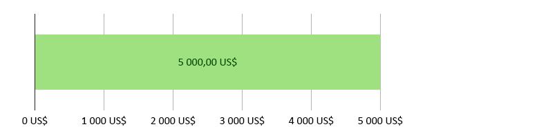 0 US$ förbrukade, 5 000,00 US$ kvar
