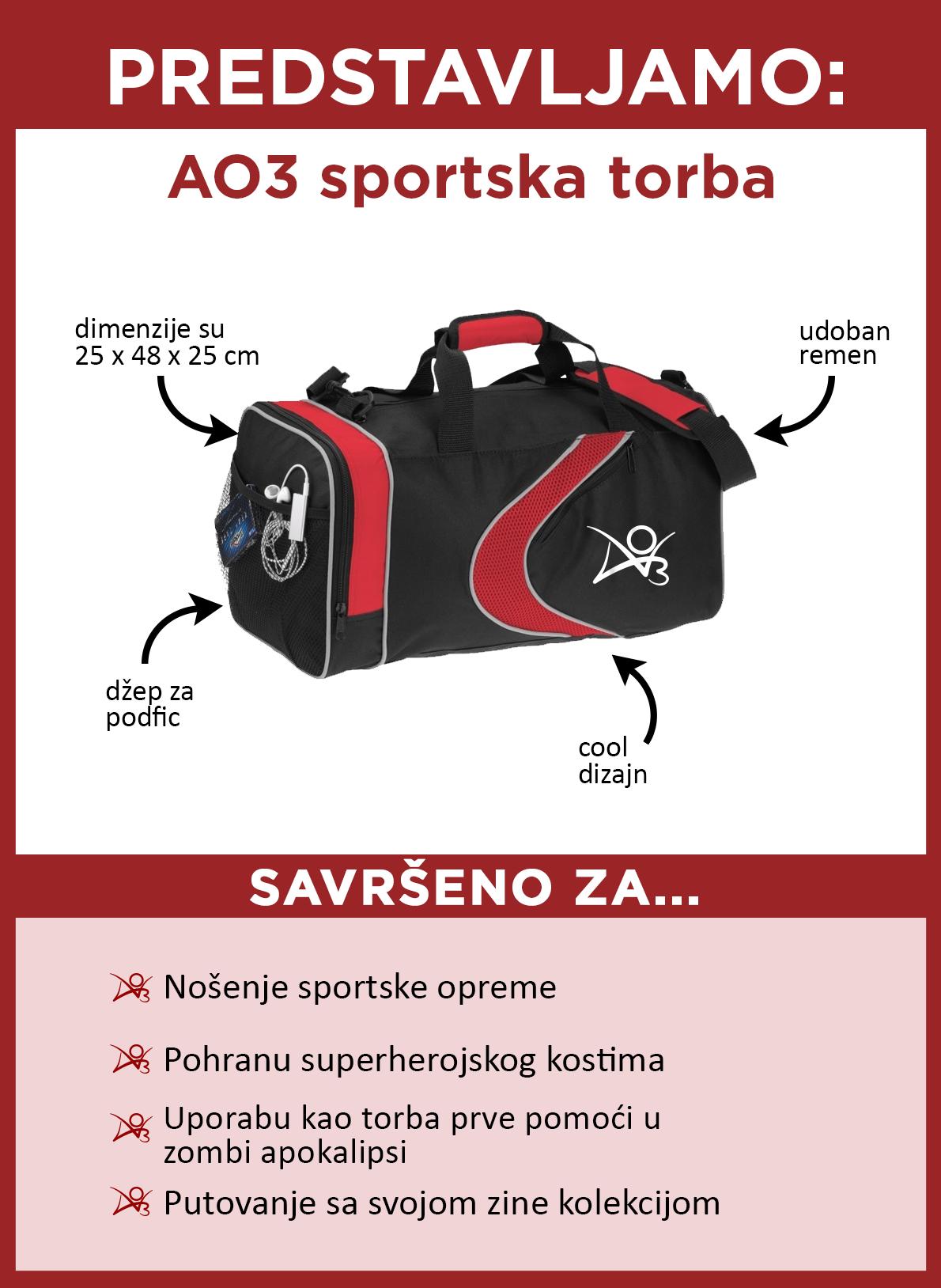 Predstavljamo AO3 sportsku torbu. Ova torba je crne boje s crvenim akcentima, s crvenim cool dizajnom i AO3 logom sa strane. Njezine su dimenzije 25 x 48 x 25 centimetara. Ima prikladnu naramenicu i džep sa strane idealan za spremanje podficova. Odlična je za spremanje odjeće za teretanu, spremanje vašeg superherojskog kostima; koristite je kao torbu za hitne slučajeve u zombi apokalipsi, i za putovanje s vašom zine kolekcijom.