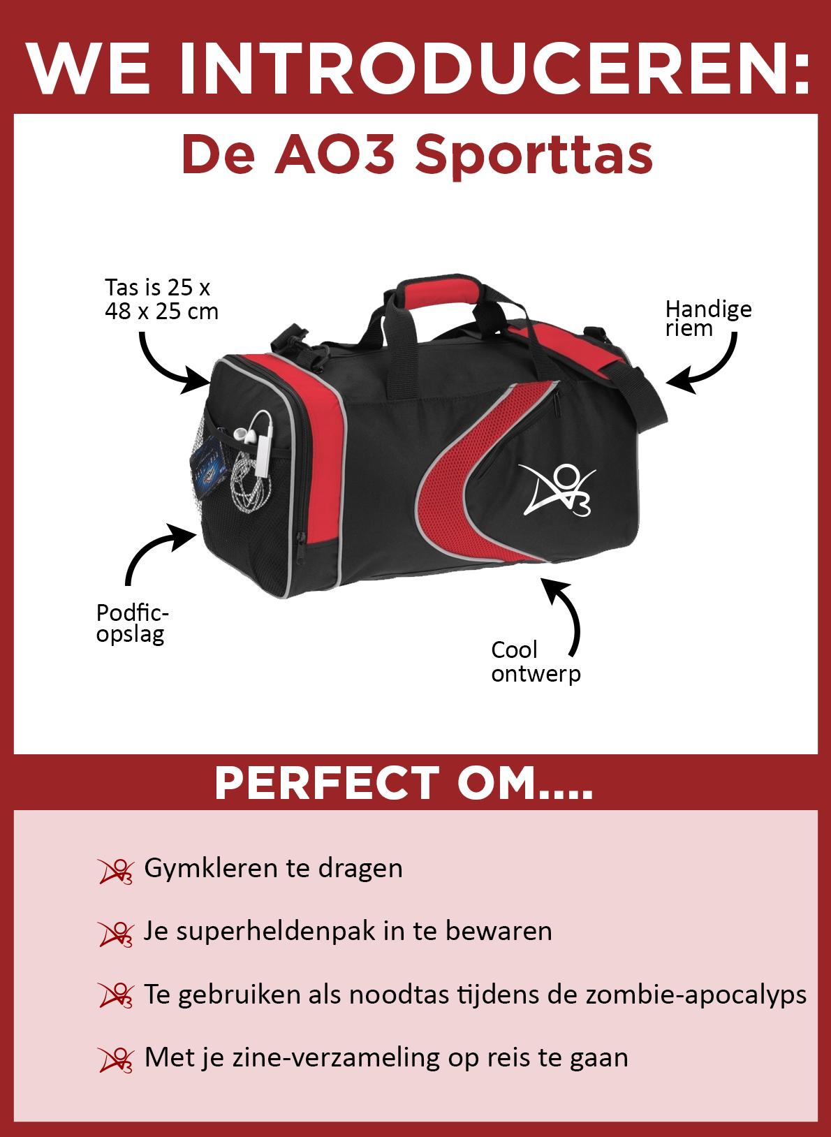 Nieuw: De AO3-sporttas. De tas is zwart met rode accenten, met een rode veeg en een wit AO3-logo op de zijkant. De tas is 25 x 48 x 25 centimeter groot en is voorzien van een handige schouderband en heeft een zijvakje dat ideaal is om je podfic in op te slaan. De tas is perfect voor het dragen van gymkleren, om je superheldenkostuum in te verstoppen, om als vluchttas voor de zombie-apocalyps te gebruiken of om met je zineverzameling op reis te gaan.