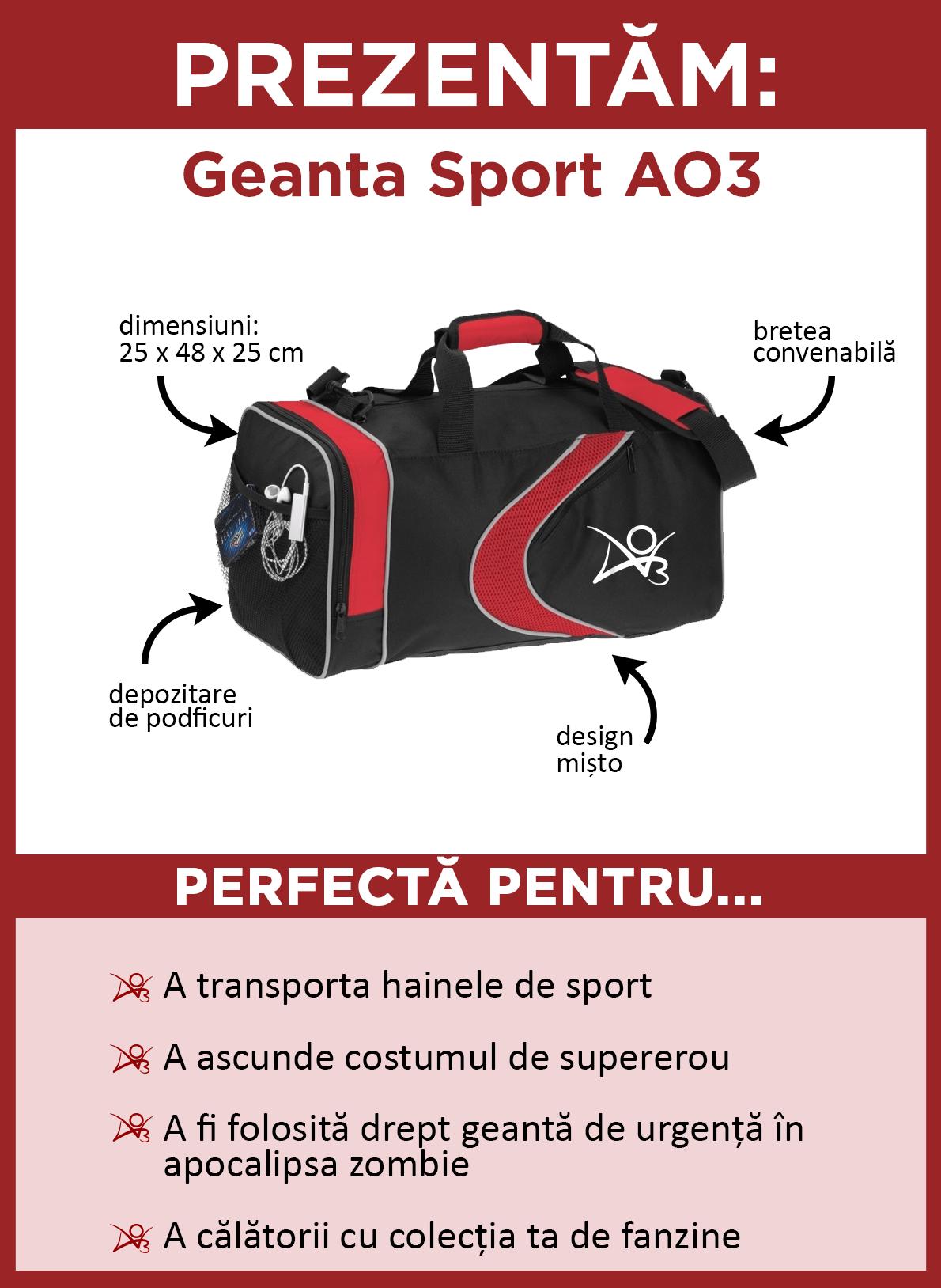 Prezentăm geanta sport AO3. Aceasta geantă este neagră cu accente roșii, un design mișto și logo-ul AO3 scris cu alb în lateral. Măsoară 25 x 48 x 25 centimetri. Are o curea convenabilă pentru a fi purtată peste umăr și un buzunar lateral din plasă, ideal pentru depozitare de podfic-uri. Este perfectă pentru a transporta hainele de sport, a scunde costumul de supererou, a fi folosită ca geantă de urgență în apocalipsa zombie, sau ca să călătorești cu colecția ta de fanzine.