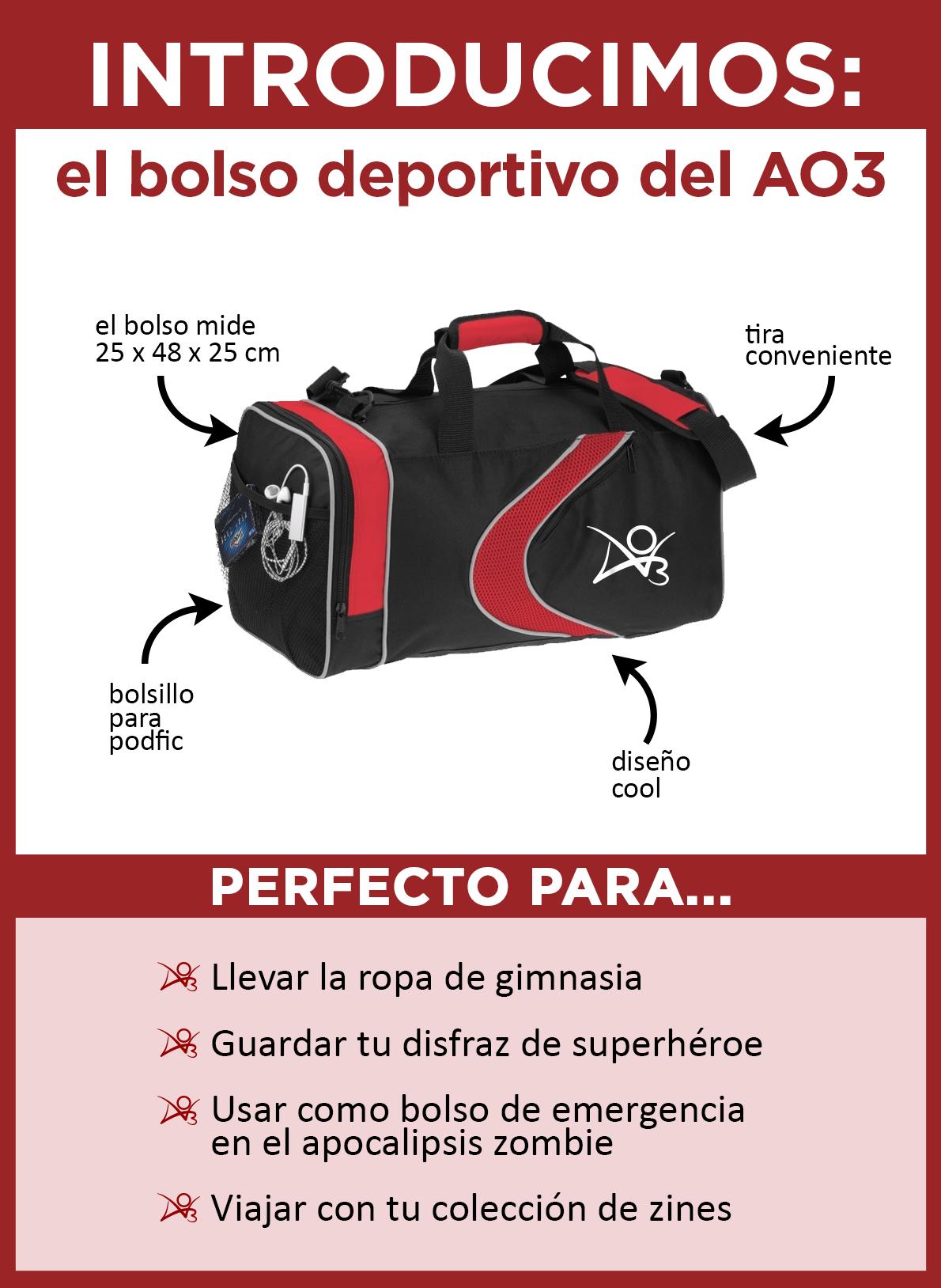 Introducimos el bolso deportivo del AO3. El bolso es negro con acentos de color rojo, una banda curva roja y el logo del AO3 en blanco en un costado. Mide 25 x 48 x 25 centímetros y tiene una correa para colgarse sobre el hombro y un bolsillo lateral ideal para llevar tu reproductor de podfics. Es perfecto para llevar la ropa del gimnasio, almacenar tu disfraz de superhéroe, utilizarlo como bolso de escape para un apocalipsis zombie, o para viajar con tu colección de zines.