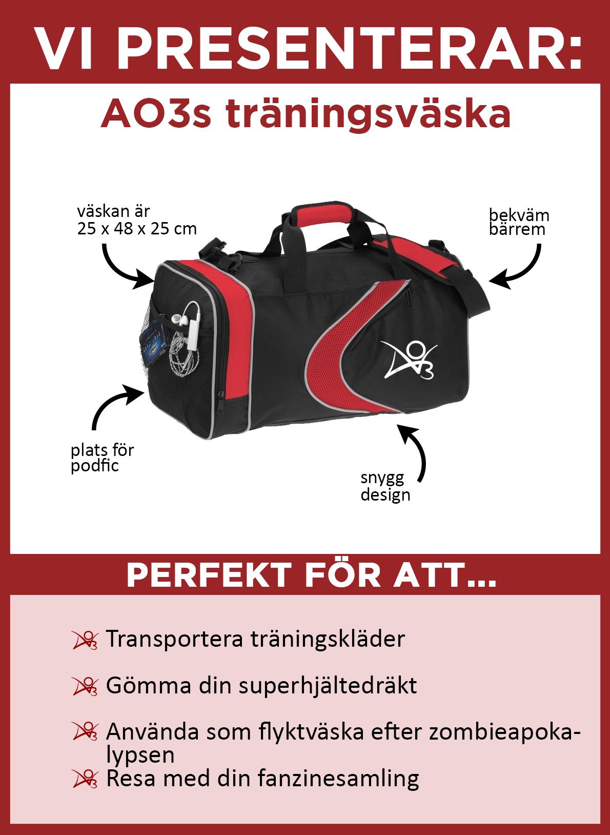 Vi presenterar AO3-träningsväskan. Väskan är svart med röda accenter, med en röd linje och en vit AO3-logga på sidan. Måtten är 25 x 48 x 25 centimeter. Den har en bekväm axelrem och en sidoficka i nät som är idealisk att förvara podfic i. Den är perfekt för att transportera träningskläder, förvara din superhjältedräkt, använda som flyktväska vid en zombie-apokalyps och resa med din fanzine-samling.