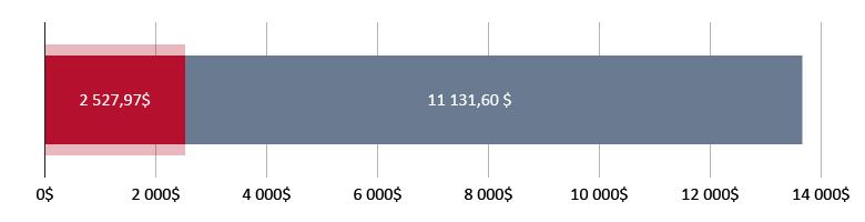изразходвани 2 527,97$; налични 11 131,60$