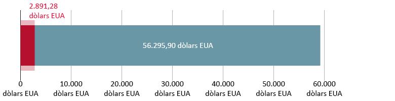 2.891,28 dòlars EUA gastats; 56.295,90 dòlars EUA restants