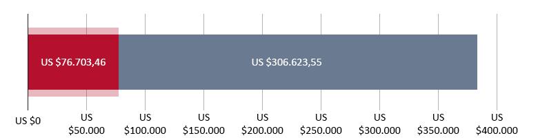 US$ 76.703,46 uitgegeven; US$ 306.623,55 resterend