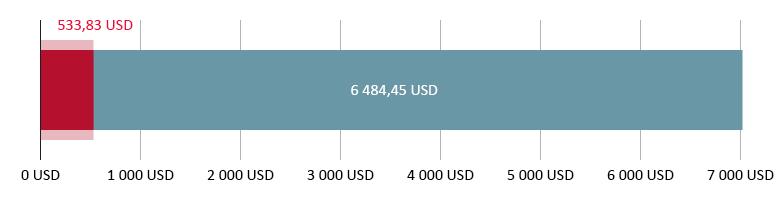 Käytetty 533,83 USD; jäljellä 6 484,45 USD