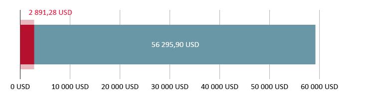 Käytetty 2 891,28 USD; jäljellä 56 295,90 USD