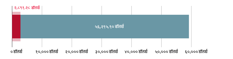 US$२८९१.२८ खर्च; US$५६,२९५.९० राहिले