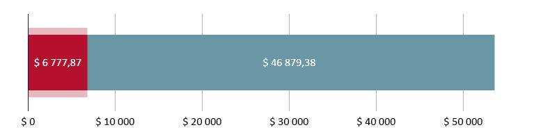 $ 6 777,87 brukt; $ 46 879,38 gjenstår