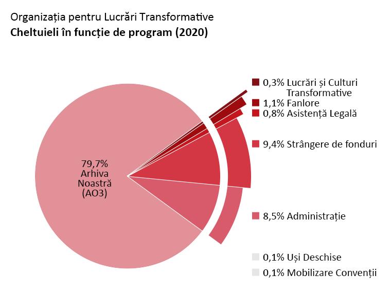 Cheltuieli în funcție de program: Arhiva Noastră (AO3): 79,7%, Uși Deschise: 0,1%, Lucrări și Culturi Transformative: 0,3%, Fanlore: 1,1%, Asistență Legală: 0,8%, Mobilizare Convenții: 0,1%, Administrare: 8,5%. Strângere de fonduri: 9,4%.