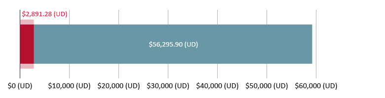 $$2,891.28 (UD) wedi'i wario; $56,295.90 (UD) ar ôl