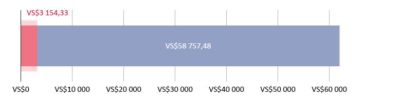 VS$3 154,33 spandeer; VS$58 757,48 oor