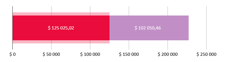 $ 125025,02 сарпталган; $ 102050,46 калды
