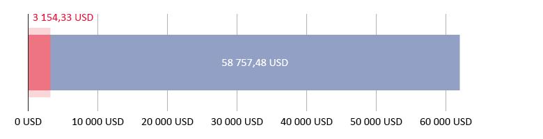 Išleista 3 154,33 USD; liko 58 757,48 USD