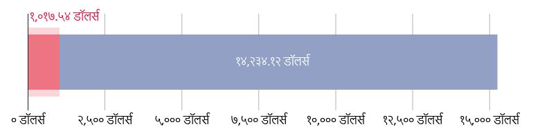 US$१,०१७.५४ खर्च; US$१४,२३४.१२ राहिले