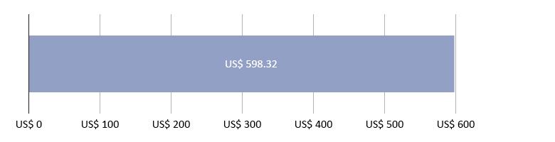 US$ 0,00 gastos; mais US$ 598,32 previstos