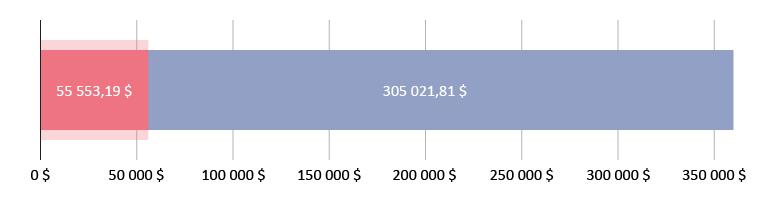 Отримано 55 553,19 $; Залишилось 305 021,81 $