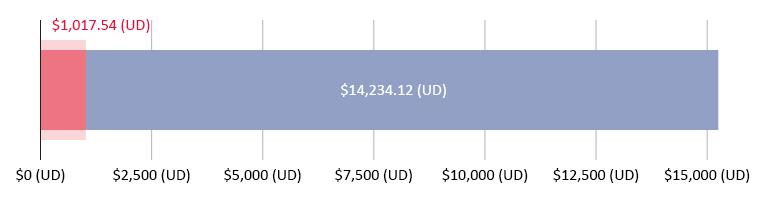 $1,017.54 (UD) wedi'i wario; $14,234.12 (UD) ar ôl