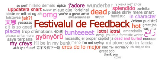 Casuță de dialog cu fraze despre Festivalul de Feedback în diferite limbi