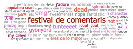 Bafarada del Festival de Comentaris amb expressions de comentaris en diferents llengües.