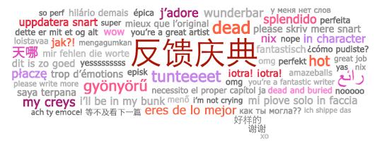 国际同人作品日反馈庆典的横幅,包含各种语言的反馈词组