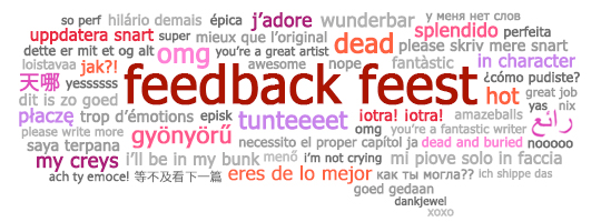 Feedback Feest tekstballon met meertalige feedbackzinnen