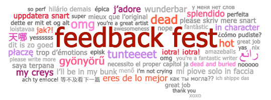 Feedback Fest speech bubble with multilingual feedback phrases