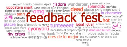 Bulle de texte du Feedback Fest contenant des commentaires et des compliments en plusieurs langues