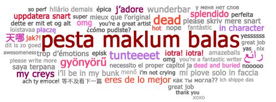 Feedback Fest speech bubble with multilingual feedback phrases