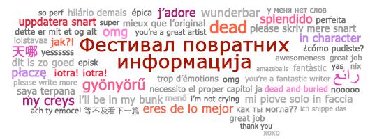 Облачић за текст Фидбек феста са вишејезичним фразама за повратне информације