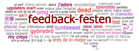 Feedback-festens pratbubbla med multispråkiga feedback-fraser