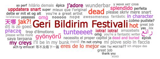 Birden çok dilde geribildirim ifadeleri içeren Geri Bildirim Festivali konuşma balonu