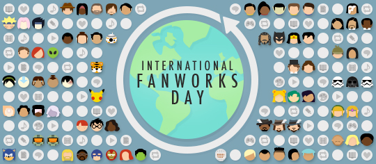 International Fanworks Day celebration, featuring fandom-themed emoji and representations of fanworks around the globe