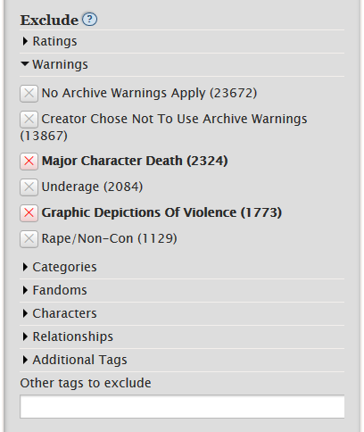 Snapshot of the new work filtering bar, showing the possibility to exclude tags, such as particular warnings