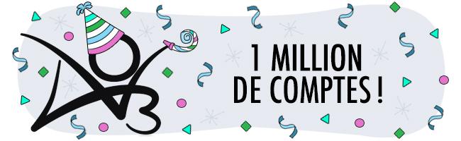 Bannière célébrant un million d'utilisateur-trice-s