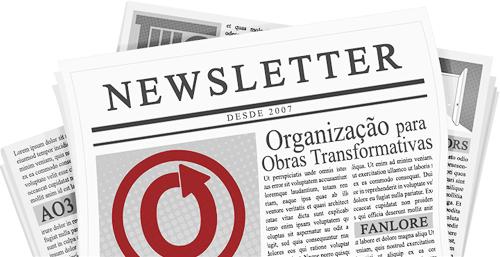 Banner feito por caitie de um jornal com o nome e logotipo da OTW e seus projetos nas páginas
