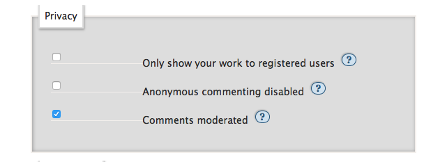 The checkbox for enabling comment moderation on an individual work