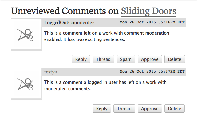 The Unreviewed Comments page for the Sliding Doors work, with a comment from a logged-in user and another from a logged out user. Both comments have Approve and Delete options.