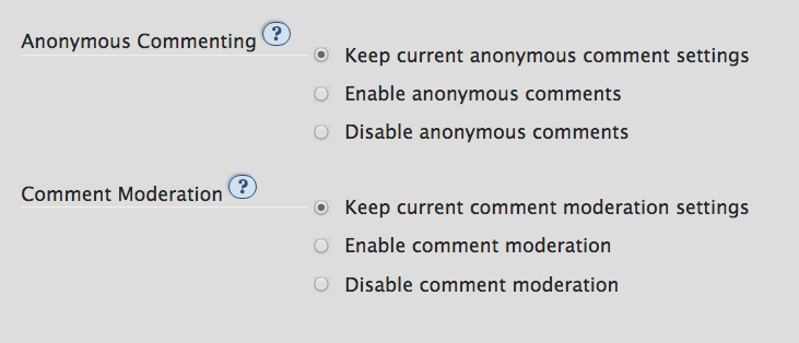 Privacy options when editing multiple works at once: anonymous commenting, comment moderation