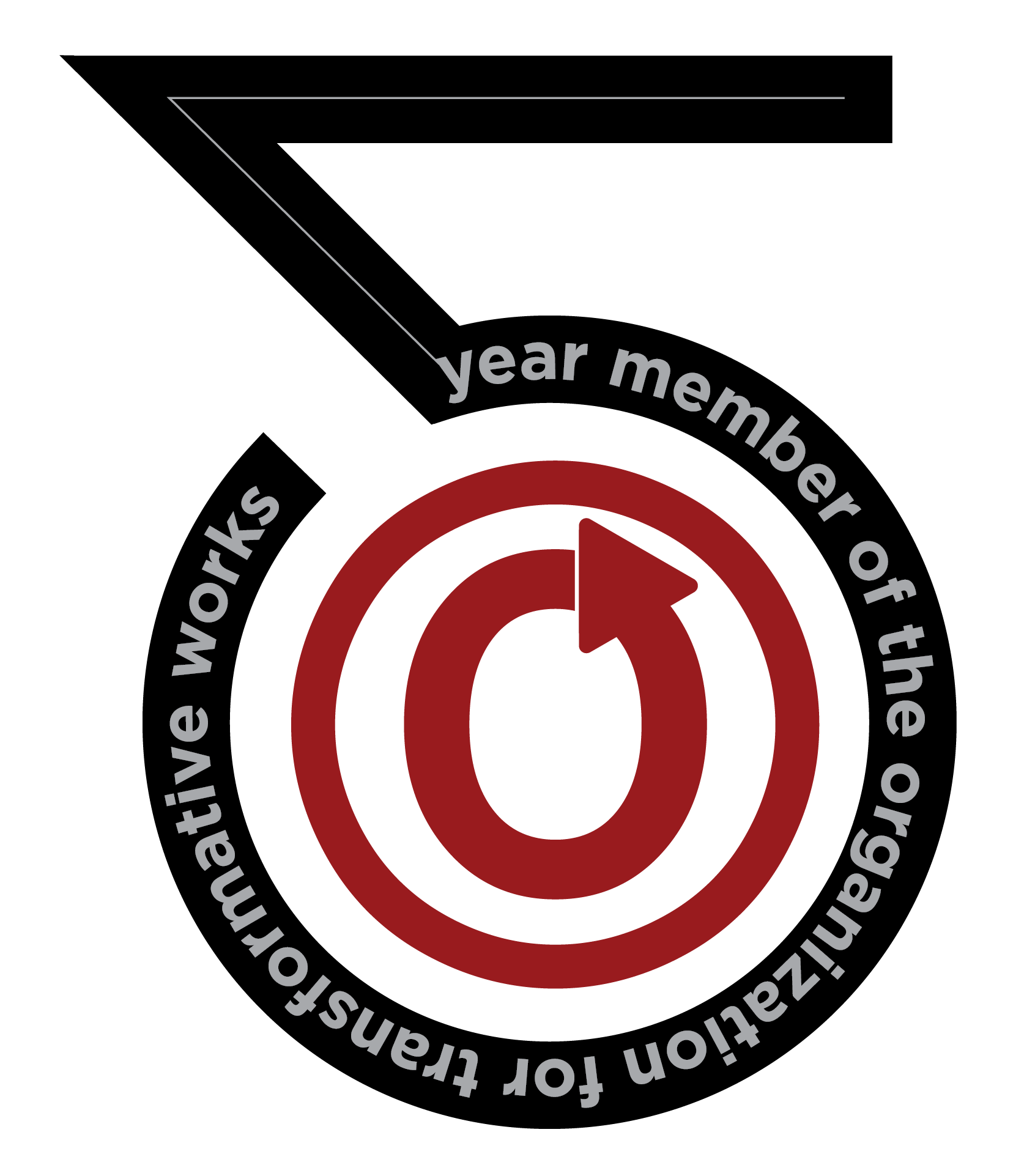 "Klistermärke med inskriften ""5-year member of the Organization for Transformative Works"" och OTWs logga i mitten."
