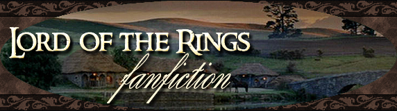 Lotrfanfiction archive banner. View of the Shire at twilight, overlaid text reads 'Lord of the Rings fanfiction'.