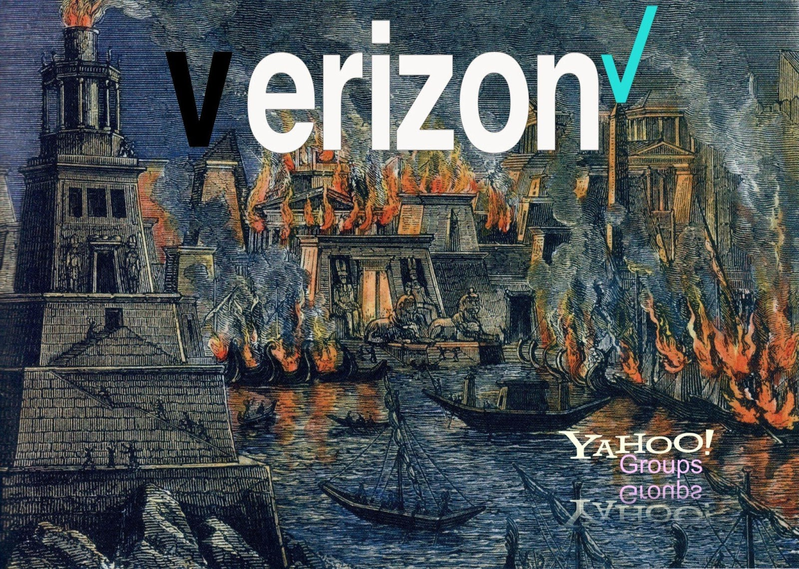 Yahoo-Geddon Project Banner - Colored woodcut of an ancient port, surrounded by burning buildings. Boats in the harbor are safe, but helpless. The logos for Verizon and Yahoo! Groups are superimposed in the top center and lower right corner, respectively.
