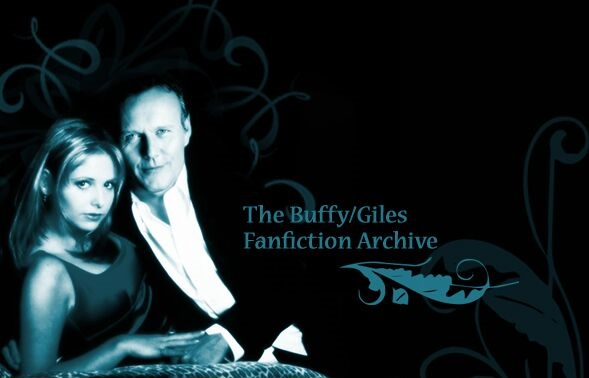 Black and white banner image with Buffy and Giles in formal wear on the left and text reading The Buffy/Giles Fanfiction Archive to their right with a leafy scroll underneath